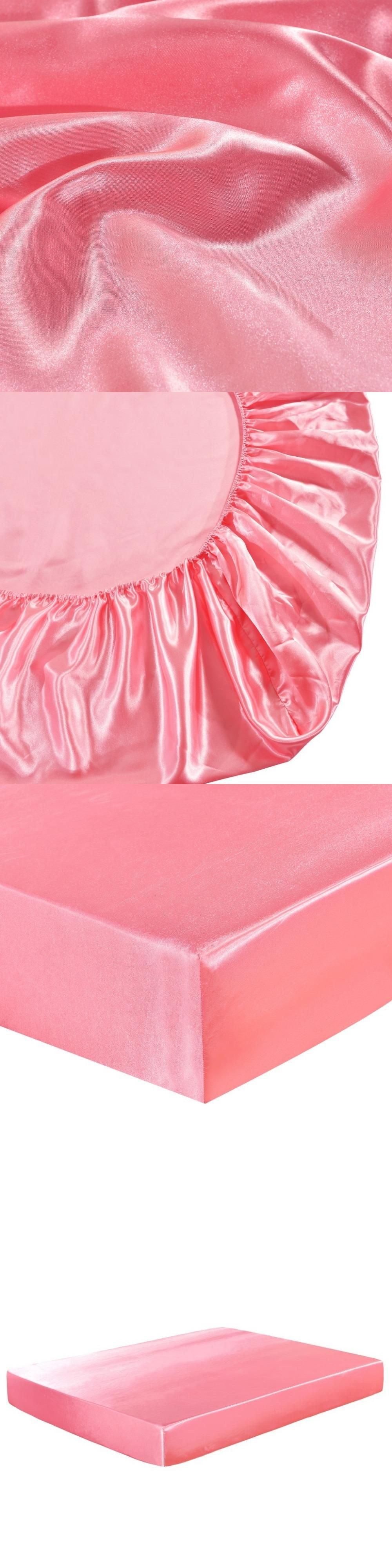 satin silk fitted sheet solid color mattress cover protector elastic