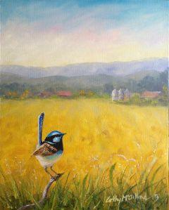 Little Blue Wren - a new bird painting by Australian Artist Cathy McClelland