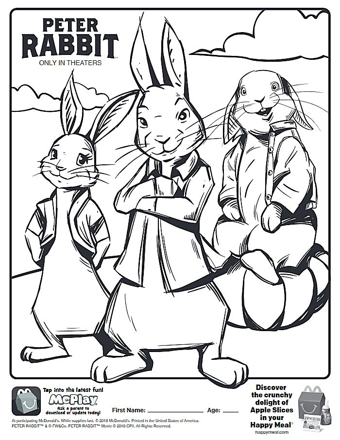 mcdonalds happy meal coloring pages - here is the happy meal peter rabbit movie coloring page