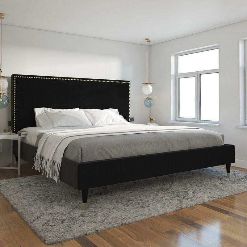 Audrey Upholstered Low Profile Platform Bed In 2021 Upholstered Platform Bed Black Upholstered Bed Bed Frame