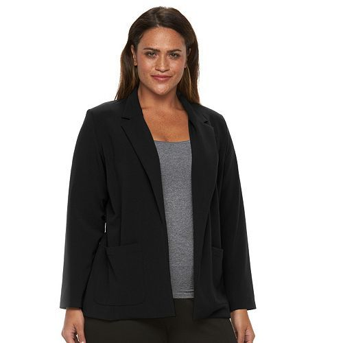 Black · Plus Size Briggs Bi-Stretch Solid Jacket ...