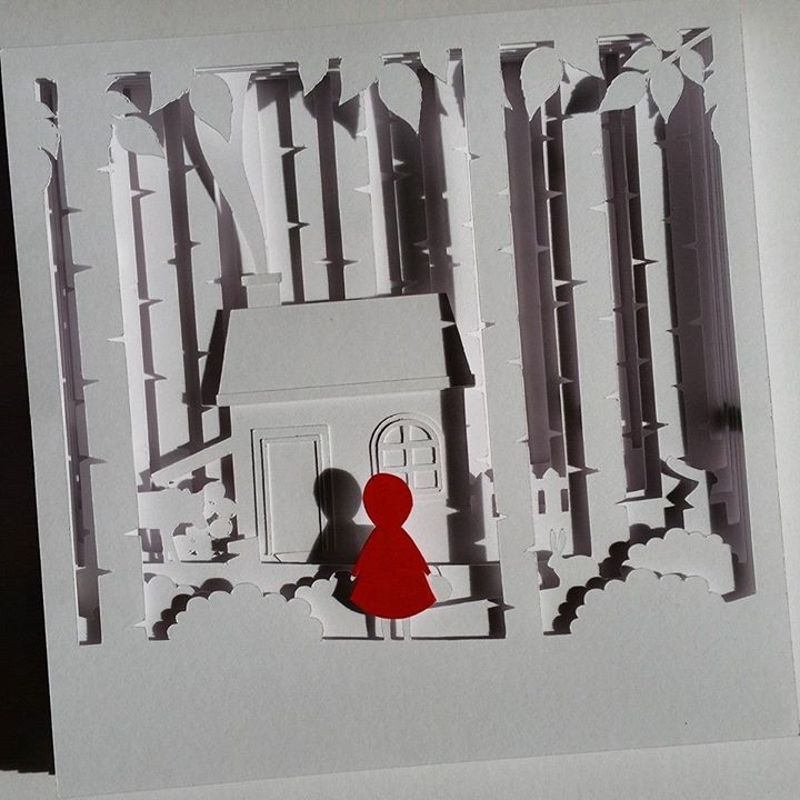 Red Riding Hood Papercut Shadow Box DIY Template Available Notjustpaperboutiquecouk