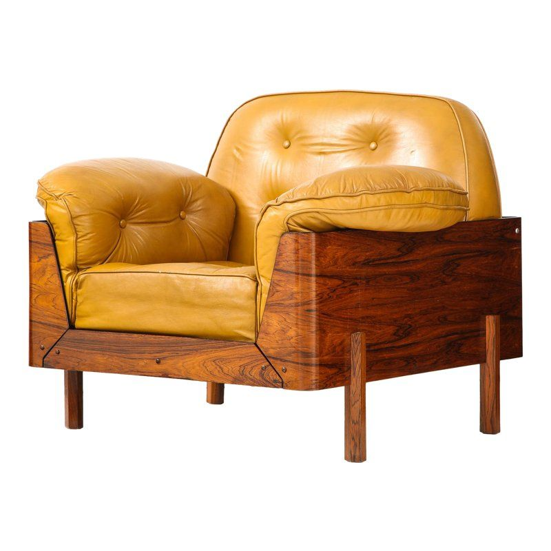 Best Brazilian Lounge Chair In Jacaranda And Yellow Leather In 400 x 300