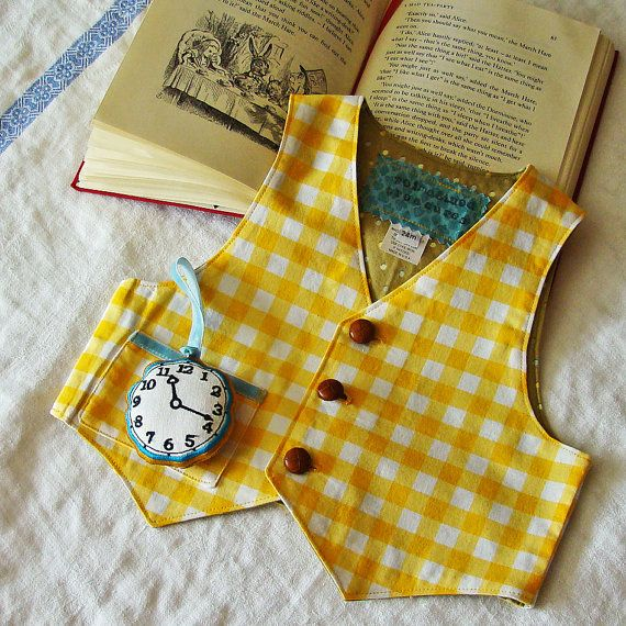 Boys White Rabbit Vest & Watch YELLOWs March Hare Vest Alice in Wonderland Party Baby or Toddler Costume #mamp;mcostumediy