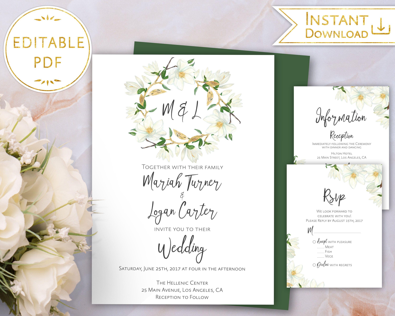 Wedding Invitation Set Printable Magnolia White  Gold Flower