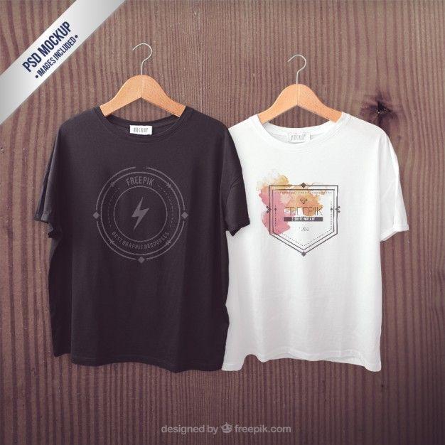 Download T Shirts Mockup Kaos Hitam Dan Putih Photoshop