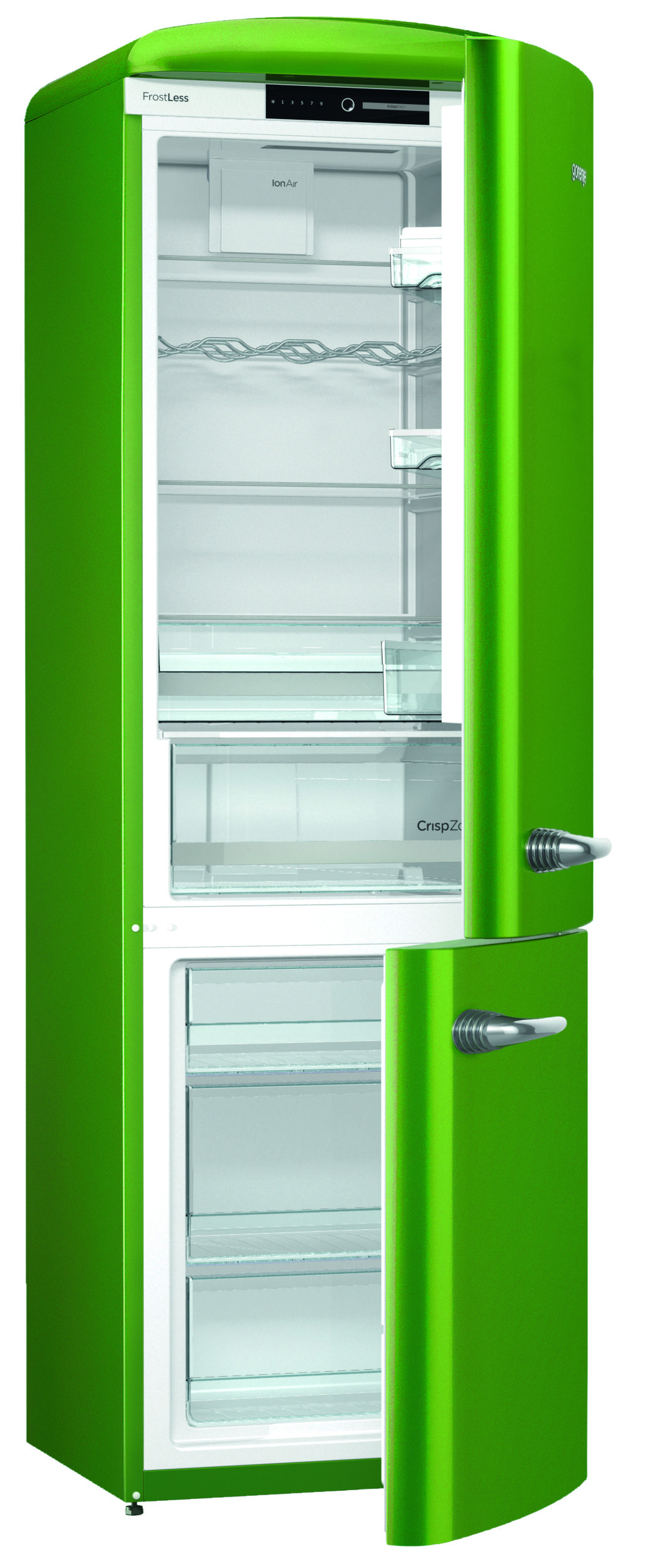 Gorenje Retro ORK193GR Fridge Freezer - Lime Green - cut out open ...