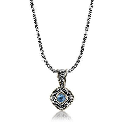 Sterling silver and 18k yellow gold blue topaz necklacependant sterling silver and 18k yellow gold blue topaz necklacependant aloadofball