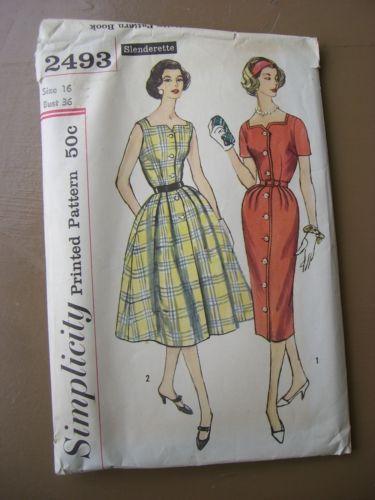 Vintage Simplicity Sewing Pattern #2493 year 1958 Slenderette dress ...