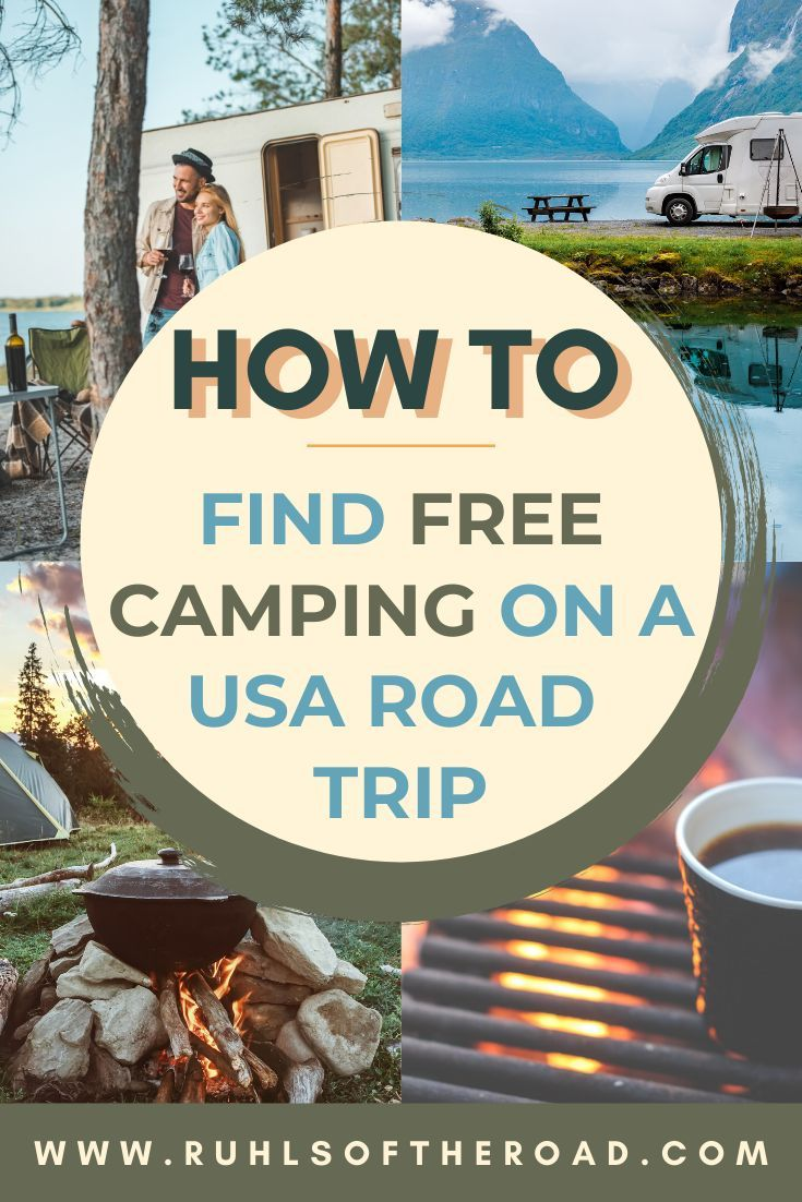 How to find free camping on a USA road trip. Use these camp tips and camping tricks to find free camping. Go camping at amazing USA roadtrip and have camping adventures finding free campsites all around the US on USA vacations. A road trip is a very budget friendly way to travel. Use these budget travel tips to save a ton of money on your next road trip. Helpful apps to download and a complete camping guide to find free camp spots while traveling in an RV, camper van or car. #free #camp