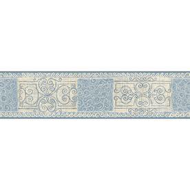 "allen roth 51/8"" Blue Pastel Scroll Tile Prepasted"