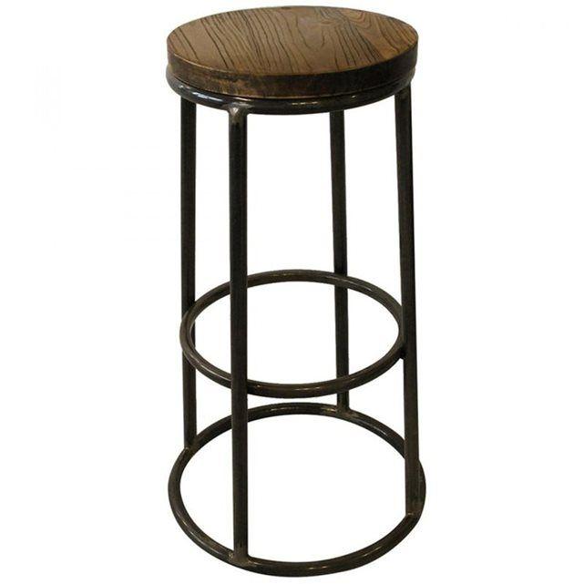 39a41c006d0f0a Ce tabouret de bar indus bois métal Fredo est doté de 4 pieds réunis par un