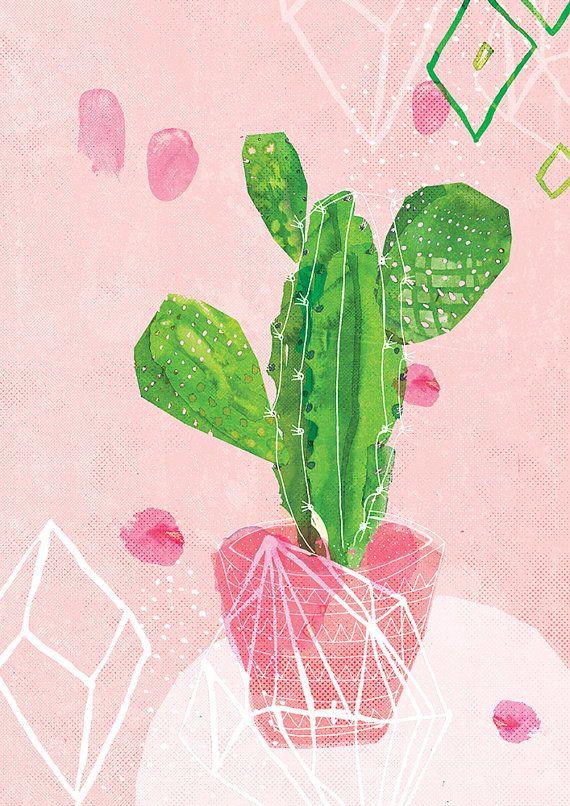 Pastel Cactus Art Print By Lovelysweetwilliam On Etsy