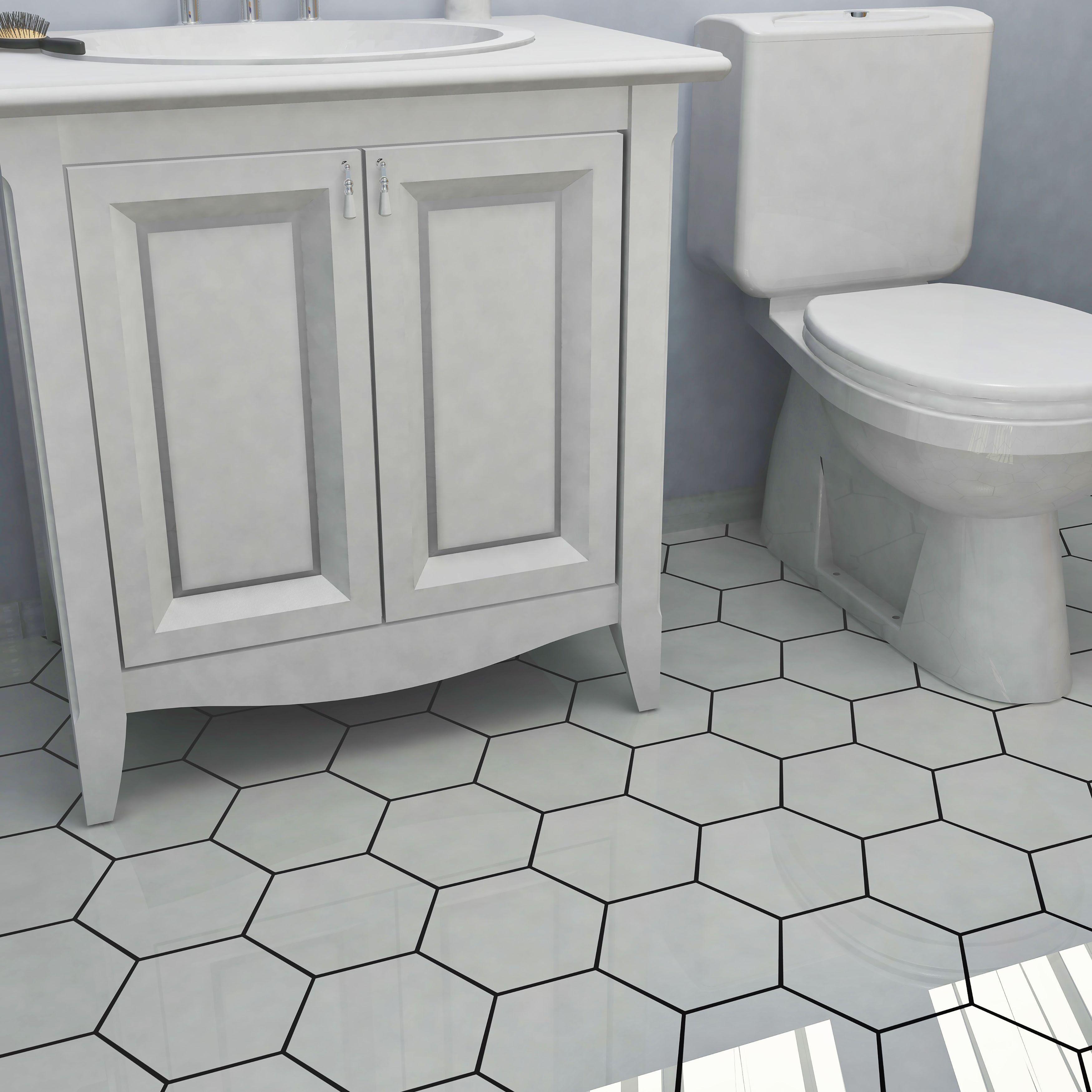 porcelain flooring white hexagon tiles