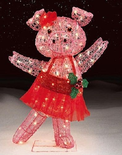 animated dancing pig lighted christmas decor indoor outdoor unbranded - Pig Christmas Decorations Outdoors
