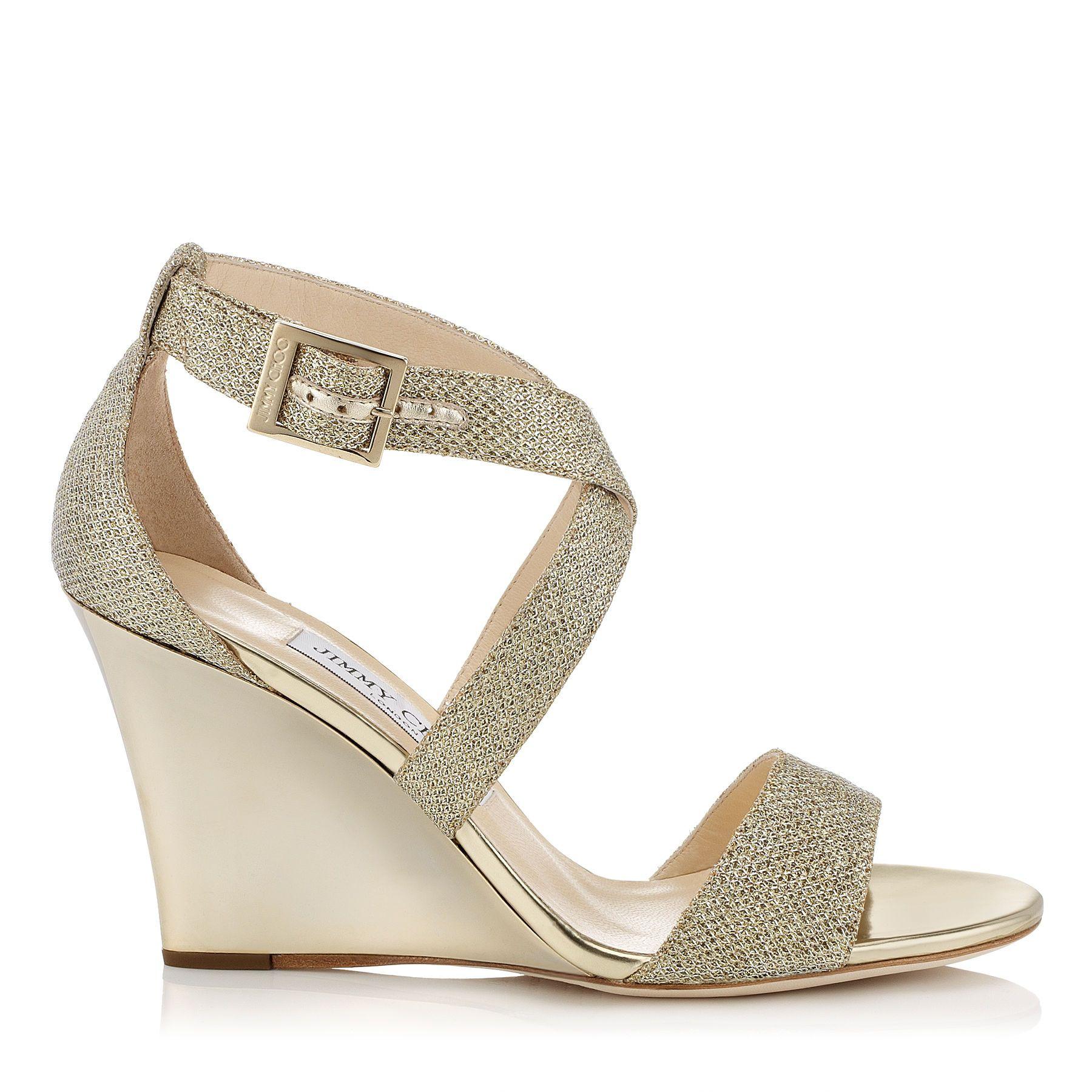 Jimmy Choo, Fearne. Gold Lame Glitter Fabric Wedge Sandals