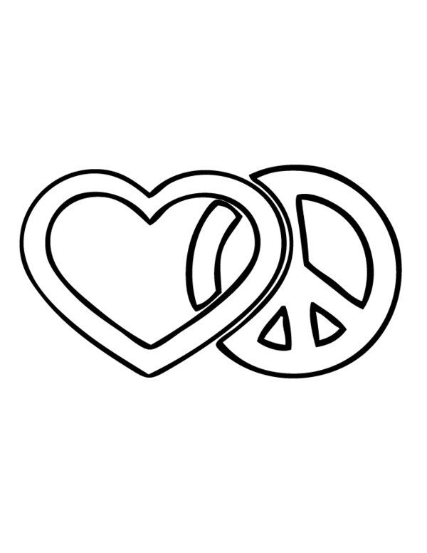 Peace And Love Coloring Pages Love And Peace Sign Coloring Page