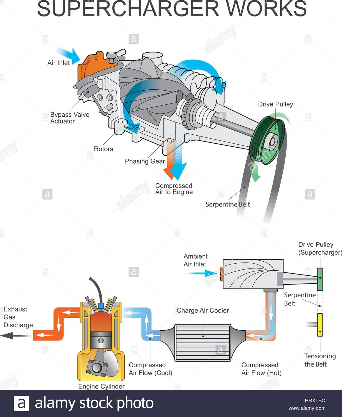 Download this stock vector: A supercharger is an air compressor that  increases the pressure or density of air supplied to an internal combustion  engine.