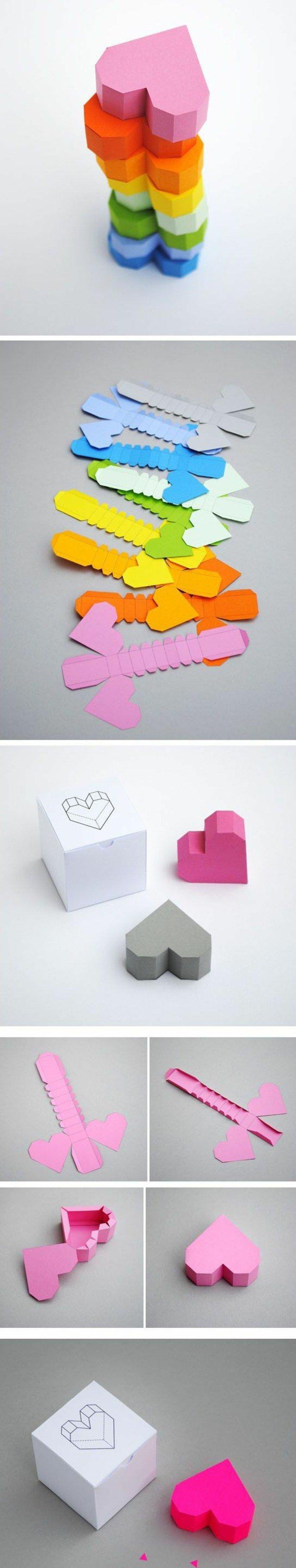 1001 id es comment faire une bo te en papier pinterest boite en papier formes de coeur et. Black Bedroom Furniture Sets. Home Design Ideas