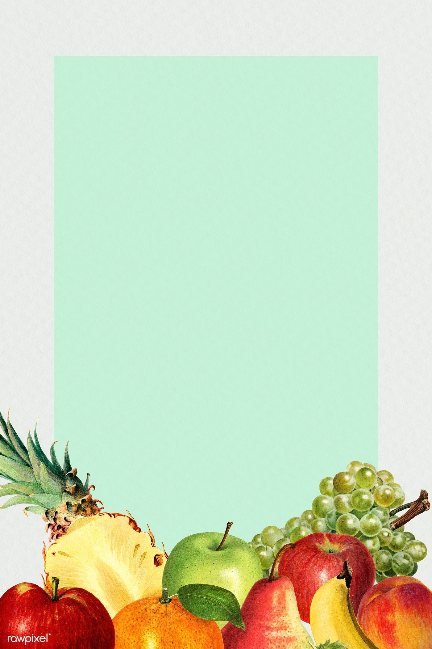 Download Premium Illustration Of Hand Drawn Mixed Tropical Fruits On A Fruit Wallpaper Border Design Tropical Fruits