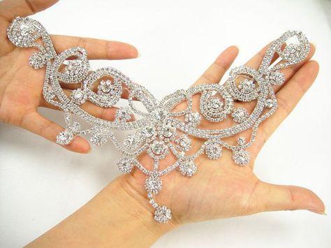 Diamante Applique, Sweet heart rhinestone applique, bridal Sash ...