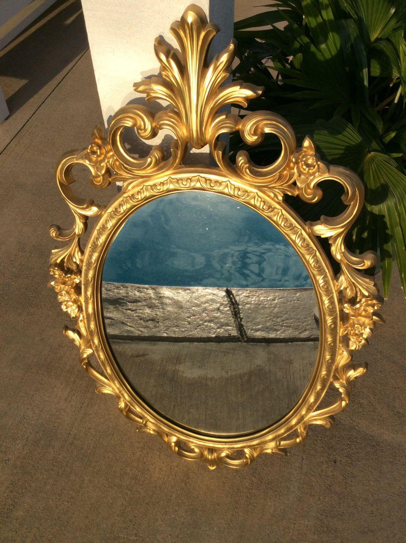 Vintage lrg oval ornate gold scroll syroco mirror hollywood