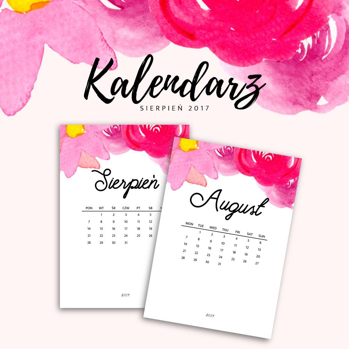 Kalendarz Do Druku Sierpien 2017 Do Pobrania Za Darmo With