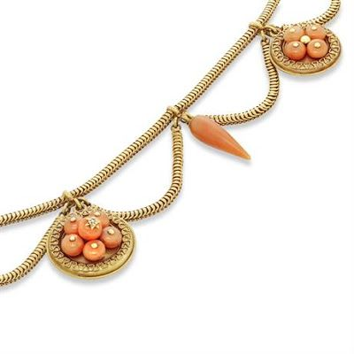 AN ANTIQUE CORAL AND YELLOW GOLD SWAG NECKLACE, ca. 1860. | In the Swan's Shadow