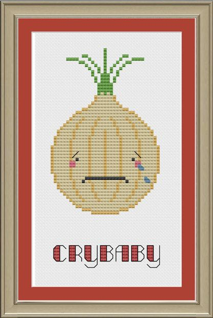 Crybaby Funny Onion Cross Stitch Pattern For Cross Stitch