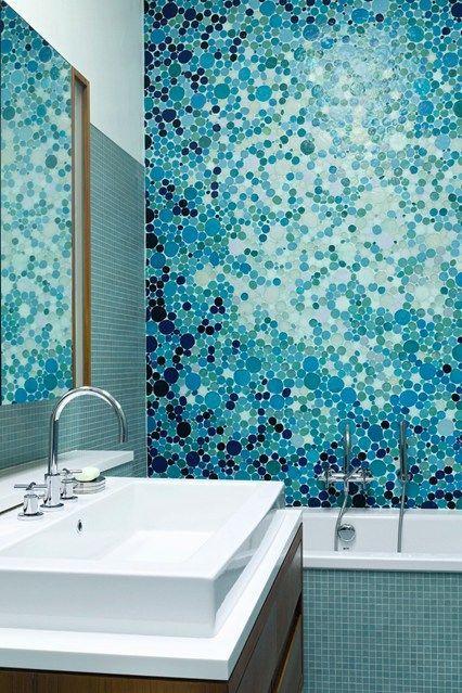 Blue Bubble Mosaic Tiles Bathroom Design Ideas Decorating With Blue Http Houseandgarden Co Uk Mosaic Bathroom Tile Mosaic Bathroom Green Shower Curtains