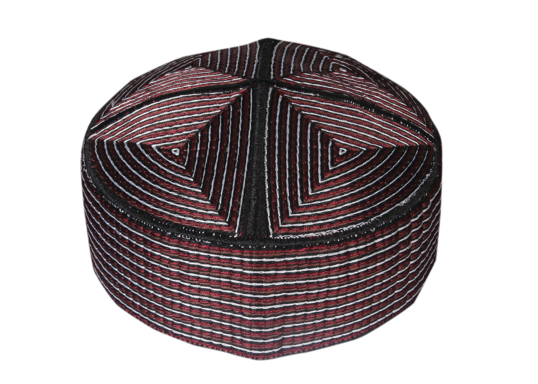 Muslim Prayer Cap of Balochi Design with Maroon Threads