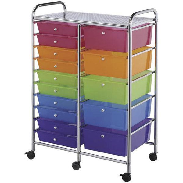 Rainbow craft storage drawers organizer art classroom for Rolling craft table with storage