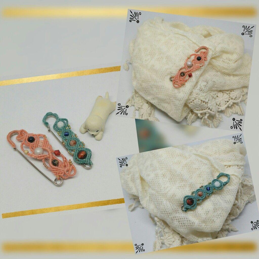 #마크라메 로 만든 #머플러핀 #macrame #knotcraft #handmadejewelry #매듭공예 #mufflerpin #scarfpin #핸드메이드악세사리