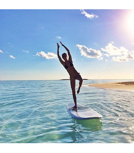 Yoga and paddle boarding.