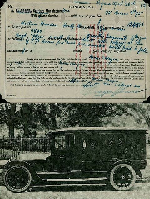 Funeral car and the original bill of sale, from 1912 First - automotive bill of sale