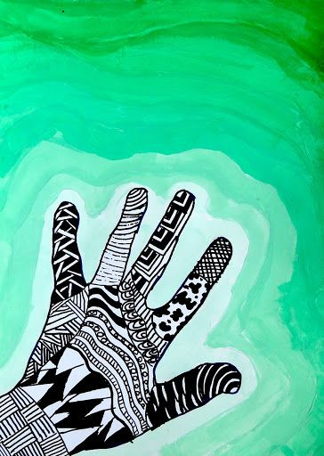 Zentangle hand on a value background