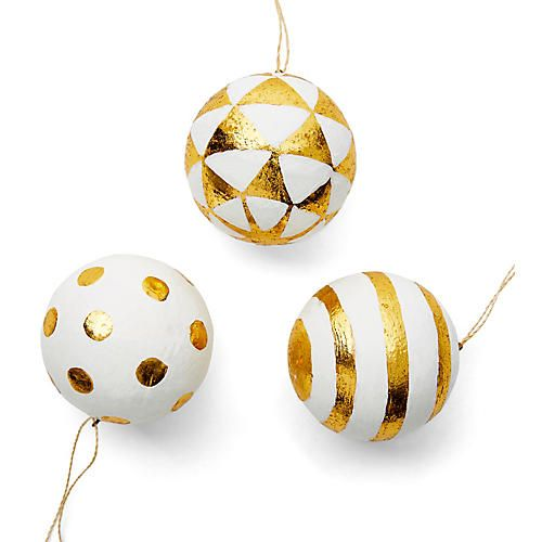 patterned ball ornaments whitegold - White And Gold Christmas Ornaments