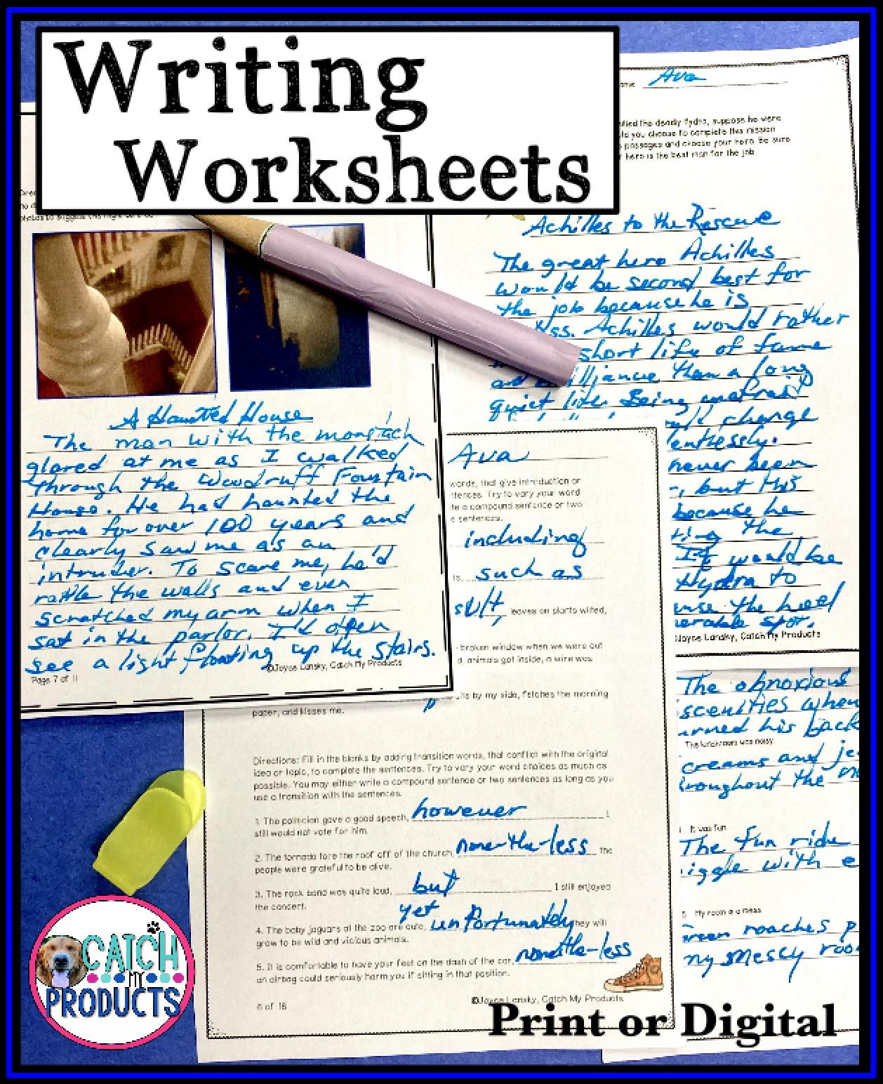 Virtual Writing Practice Print or Digital Writing Worksheets in 2021    Teaching writing elementary [ 1544 x 1258 Pixel ]