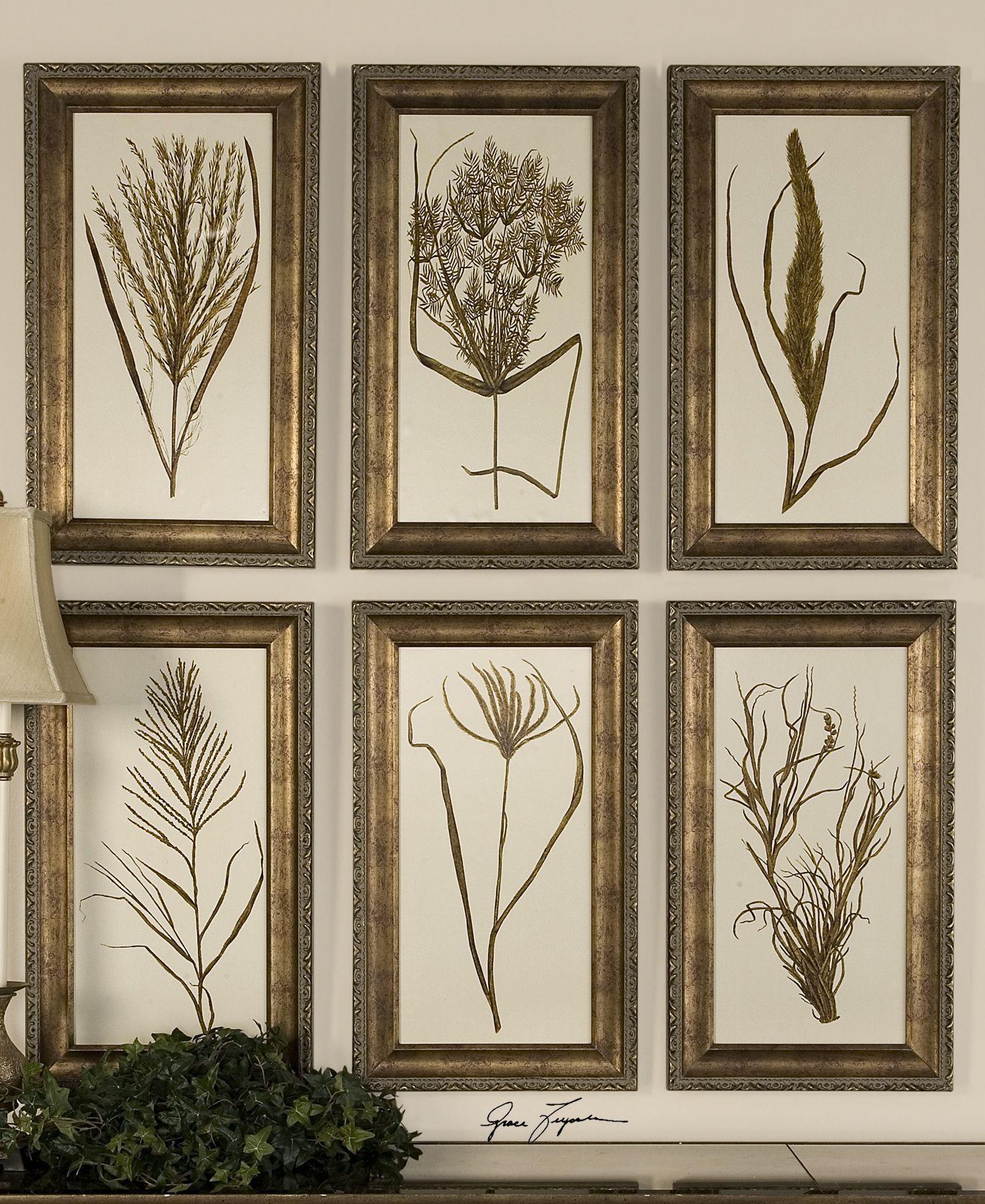Wheat Grass Framed Art Set6