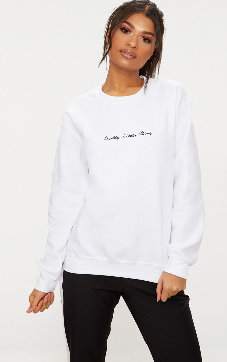 Prettylittlething White Embroidered Oversized Sweater Oversized Sweater Sweaters Sweater Hoodie [ 1180 x 740 Pixel ]