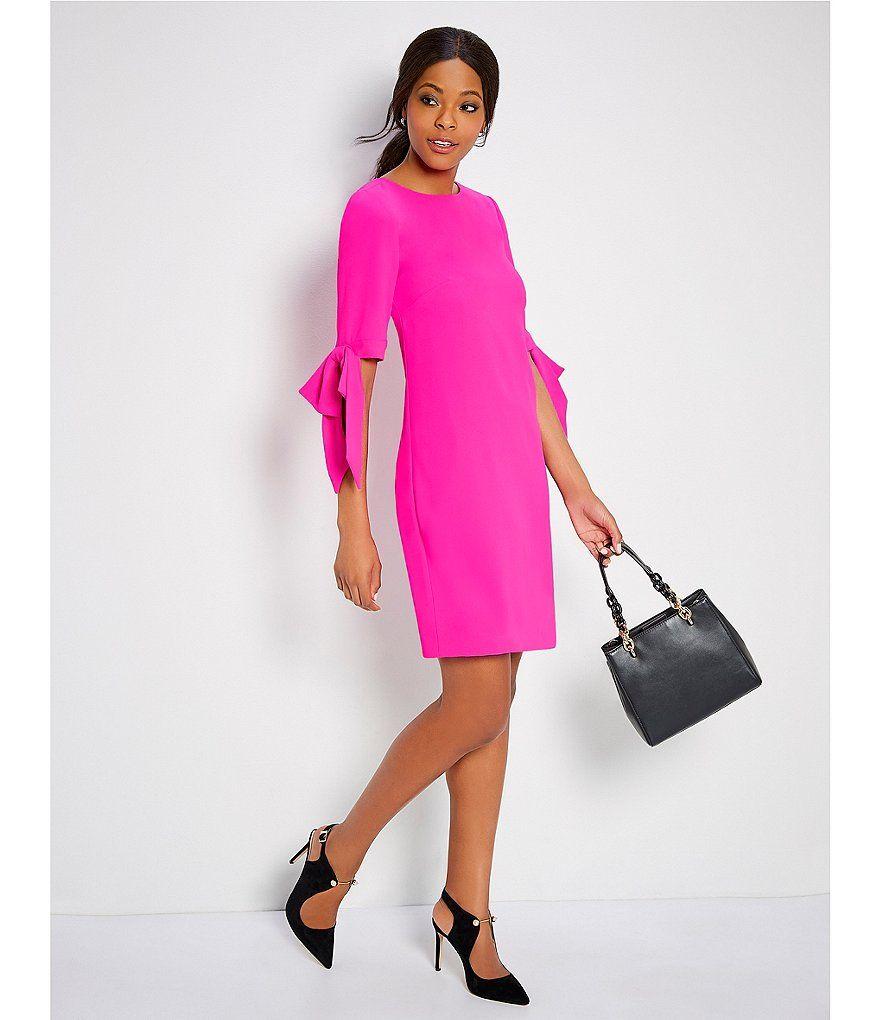 Cece Bow Tie 3 4 Sleeve Shift Dress Dillard S Shift Dress Dresses Style [ 1020 x 880 Pixel ]