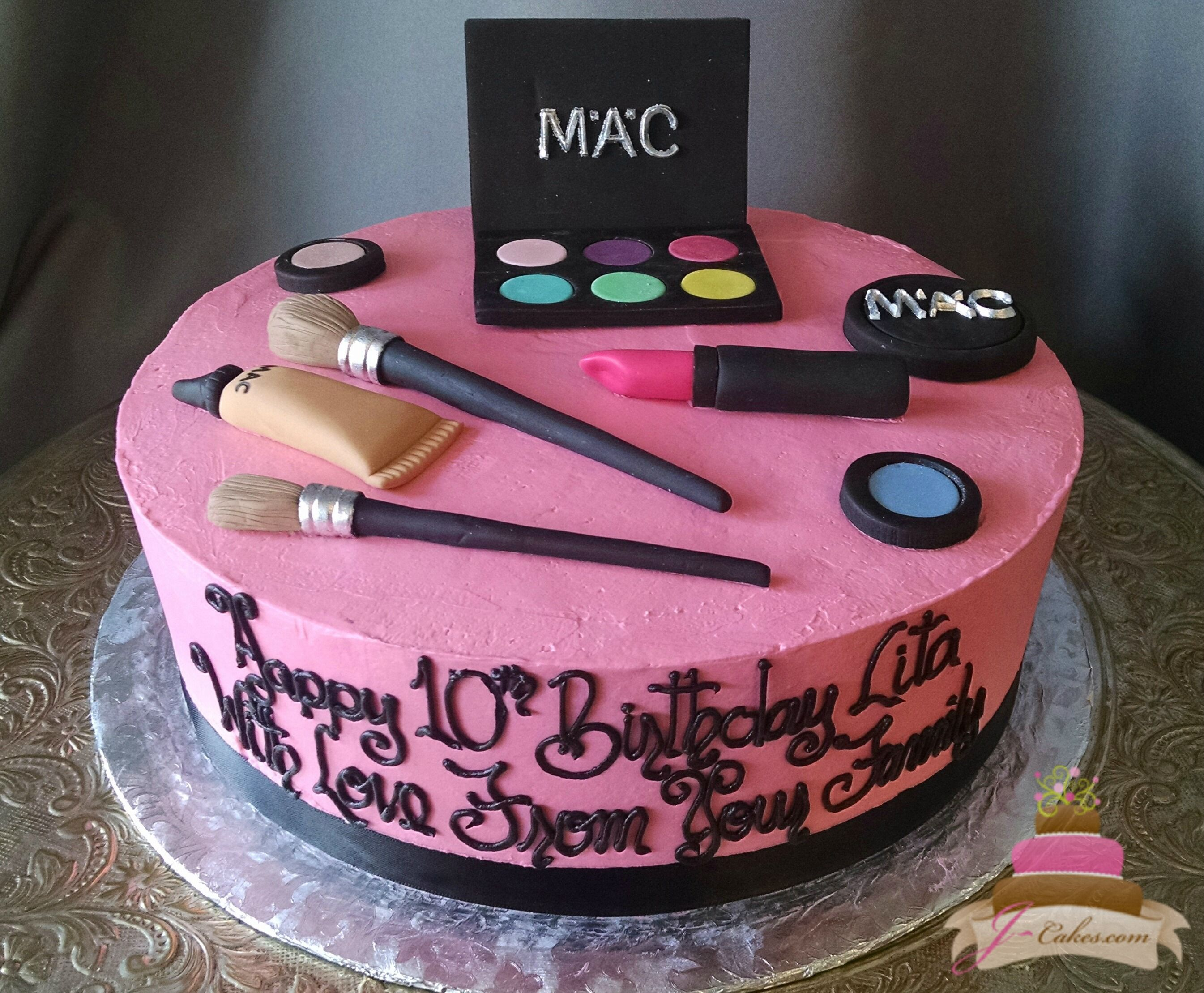 168 Make Up Theme Birthday Cake Custom