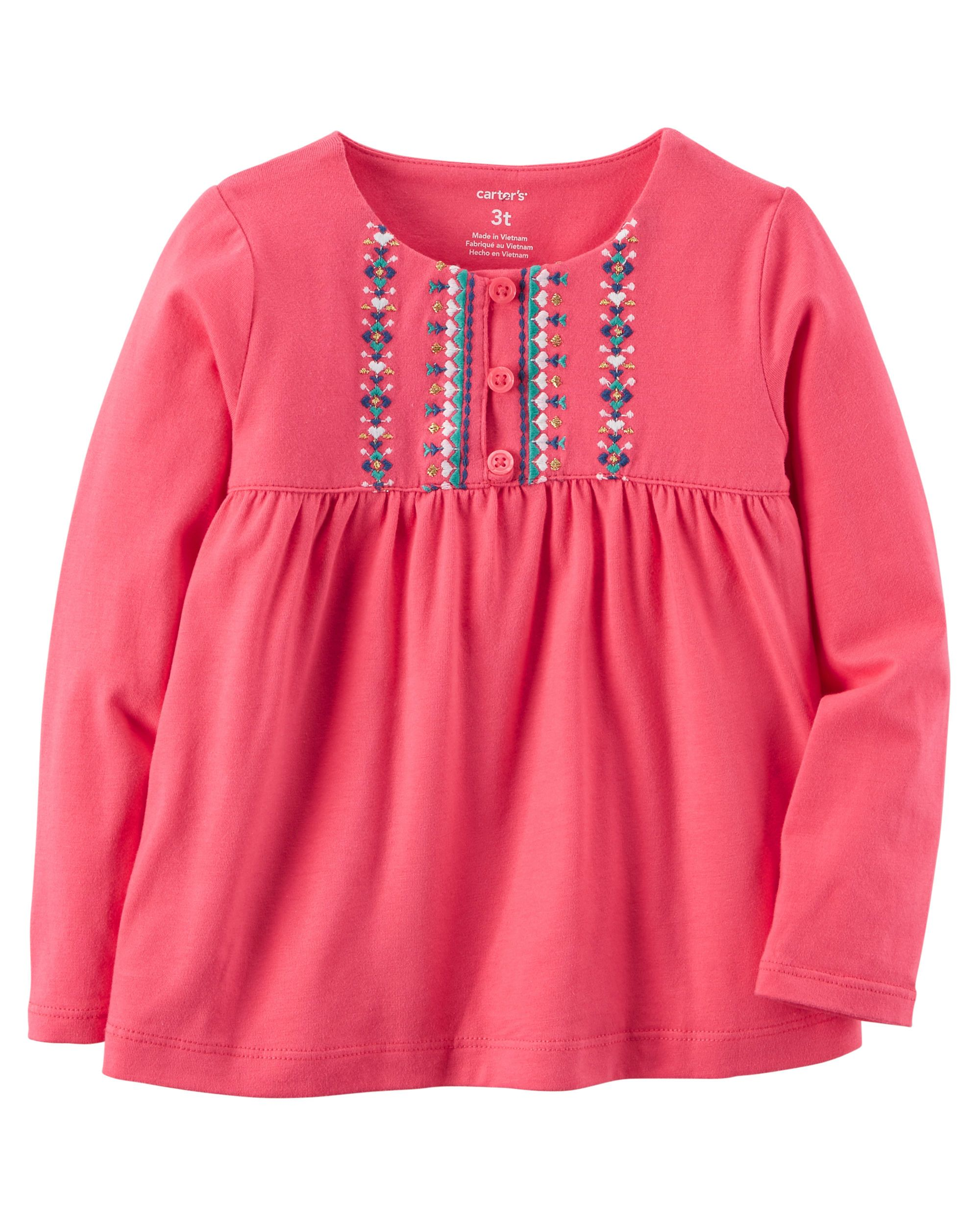 8cda36a7 Embroidered Babydoll Top | Toddler Girl | Baby girl tops, Toddler ...