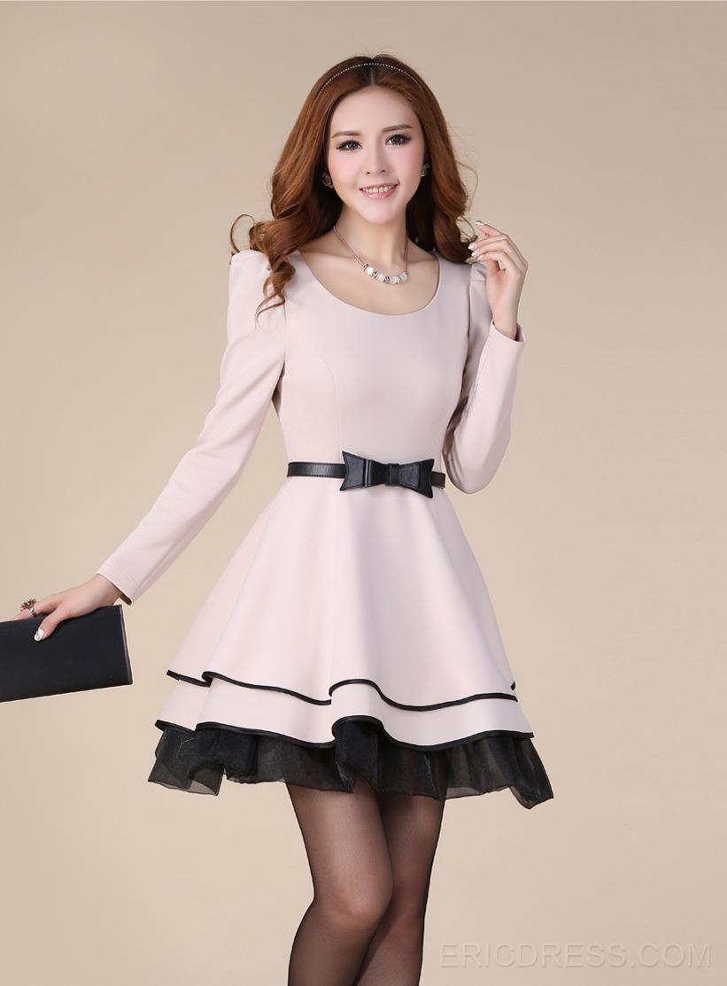 22e36a9dc3e Amazing OL Style Bow Knot Puff Long Sleeves Bubble Sweet Korean Princess Dress  Casual Dresses