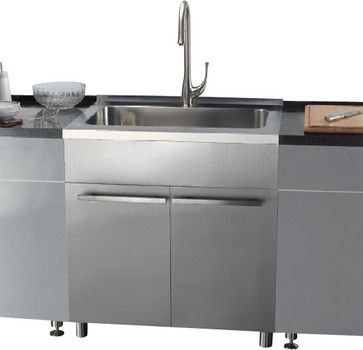 Dawn Ssc3636 36 Inch Stainless Steel Sink Cabinet Modern Kitchen