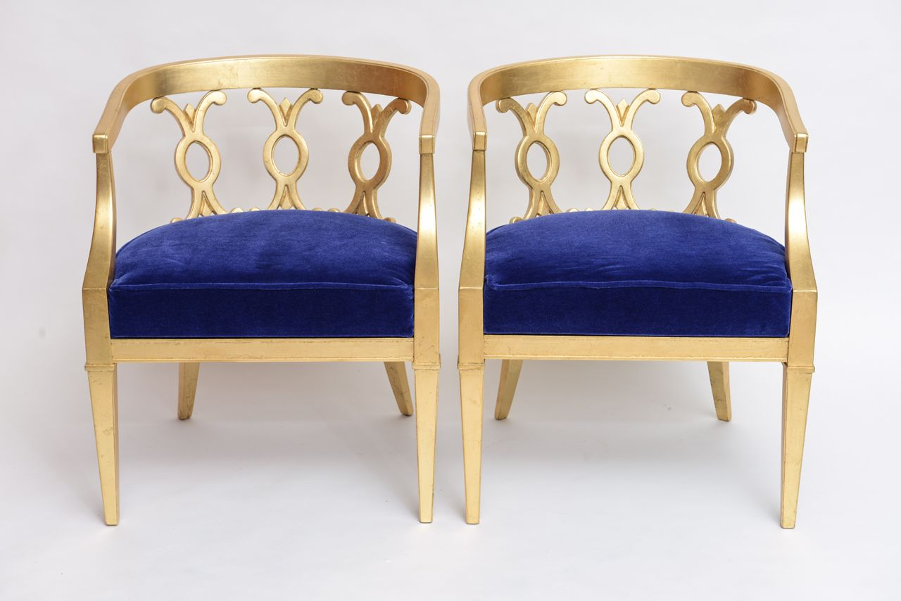Pair of Vintage Dorothy Draper Attribution Hollywood Regency Chairs | From a unique collection of antique and modern armchairs at http://www.1stdibs.com/furniture/seating/armchairs/