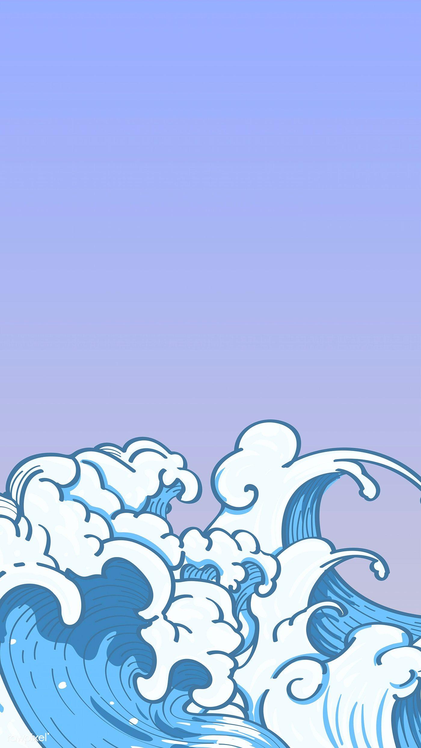 Download Premium Vector Of Blue Japanese Wave Background Vector 843155 Japanese Waves Waves Cartoon Wave Illustration
