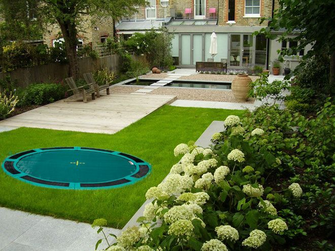garden design zones circles play sunken trampoline google search - Garden Design Circles