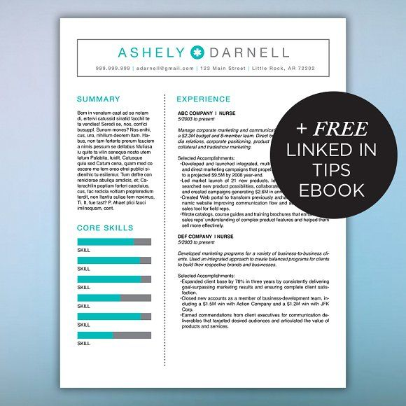 Simple Resume Template + Free Ebook by Scribbled Napkin Design on