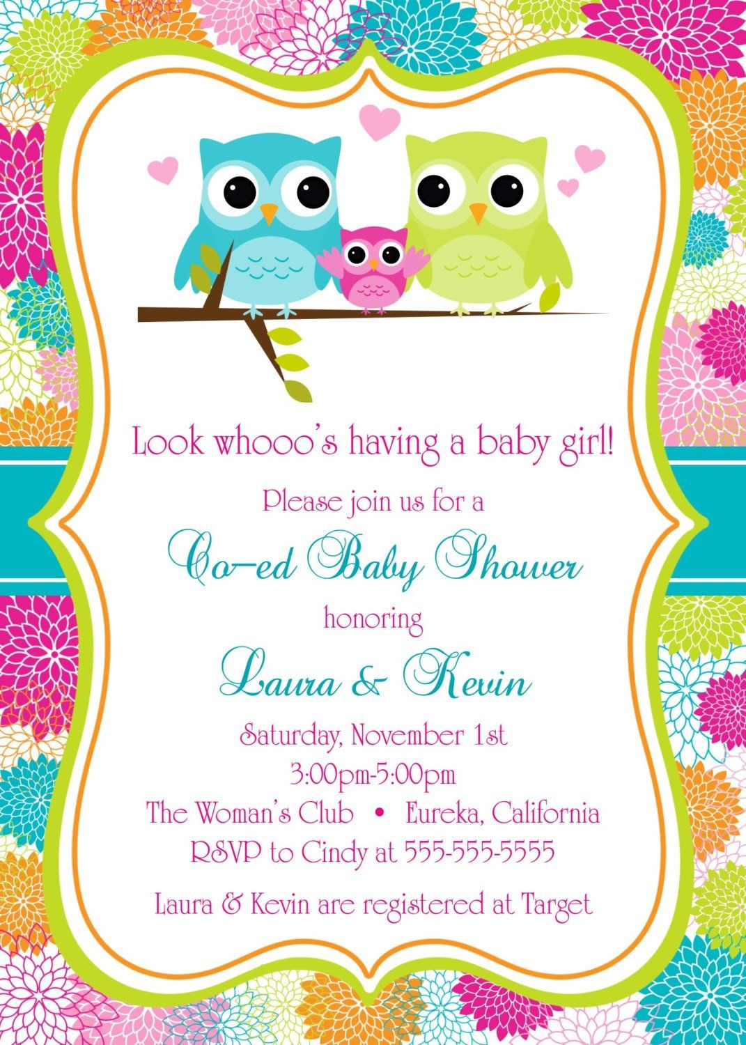 "Owls Co Ed Baby Shower Invitation 5""x7"" Digital Card dani Invitaciones de cumpleaños"